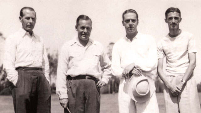 Bobby Jones (center left) with Gonzalez (right) in Sao Paulo in 1945.