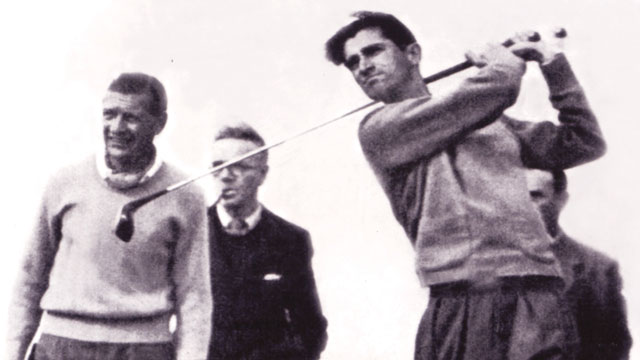 Gonzalez tees off at the 1948 British Open.