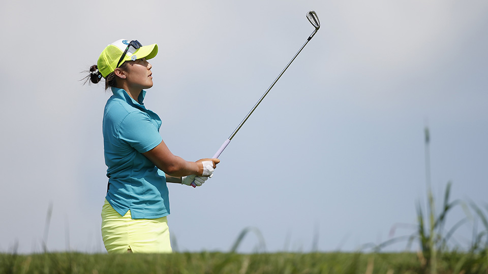 Tiffany Joh tees off on the 13th hole during the second round of the 2015 Yokohama Tire LPGA Classic.