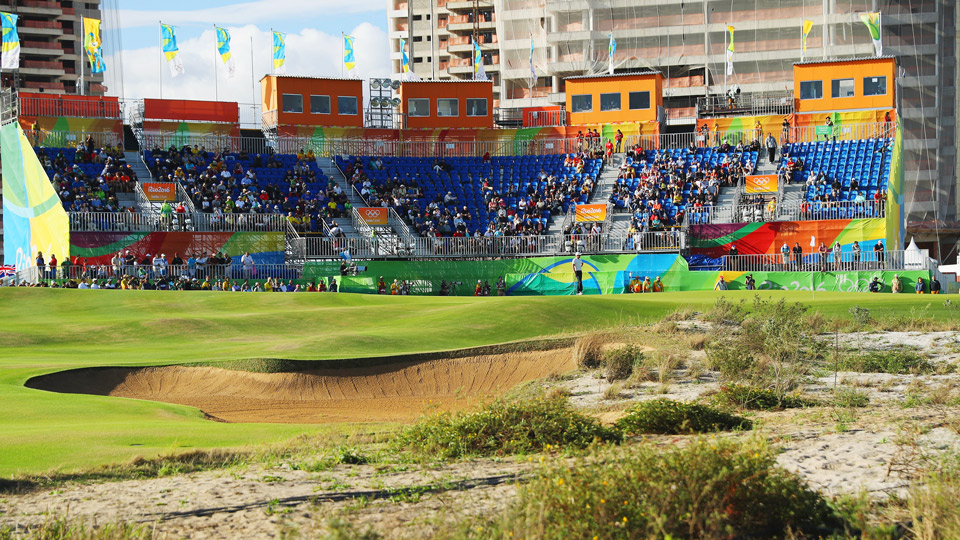 The scene at the 18th green during round 1 of the Olympic Golf event in Rio.