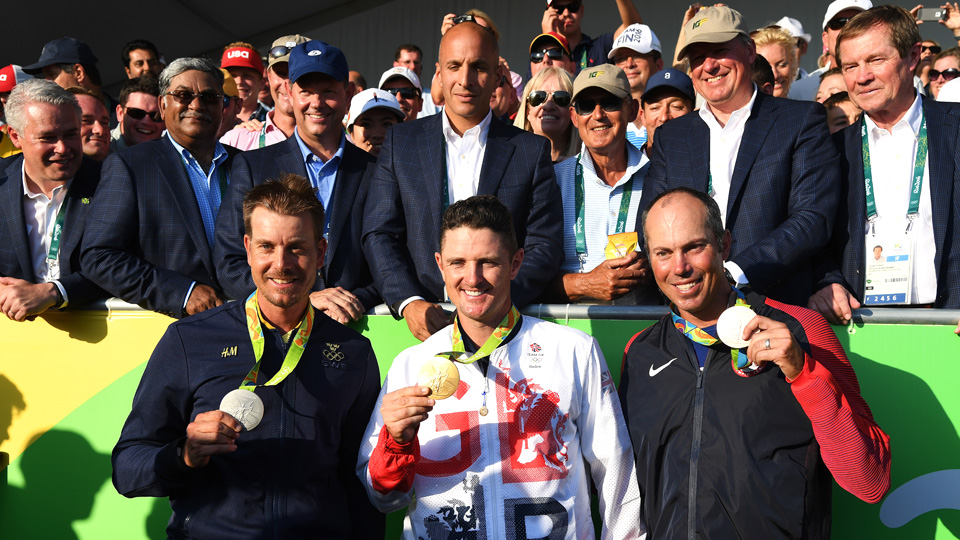 Henrik Stenson (from left, silver), Justin Rose (gold) and Matt Kuchar (bronze) are leaving Rio with medals.