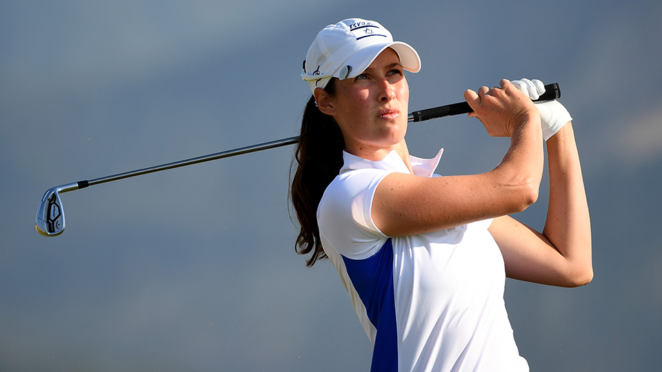 Laetitia Beck of Israel plays her shot from the 4th tee during the first round of Women's Golf at the Rio 2016 Olympic Games.