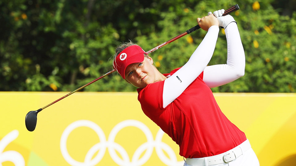 Canadian Brooke Henderson climbed up the leaderboard with a seven-under 64 on Thursday, and the 18-year-old is just two off the lead.