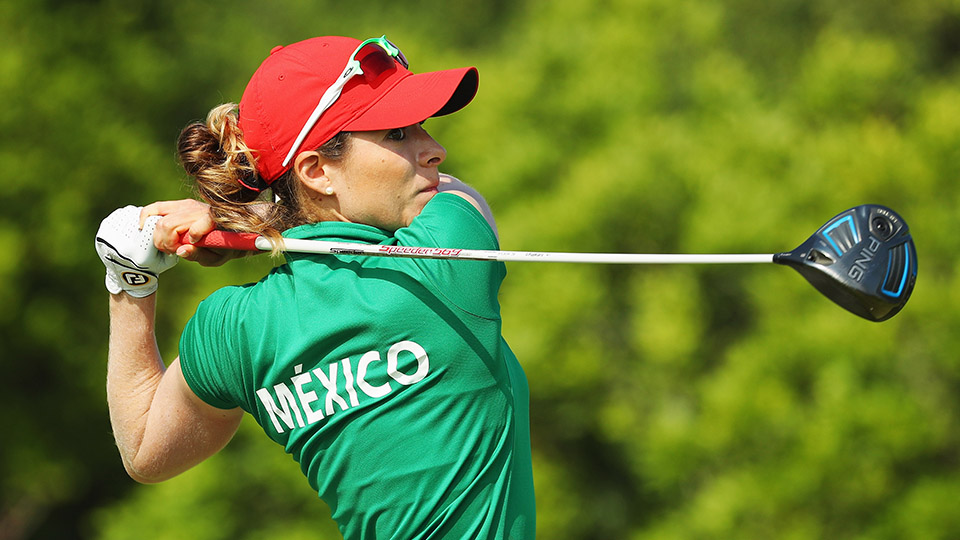 Gaby Lopez of Mexico hits her tee shot on the 5th hole during the second round of the women's Olympic golf tournament.