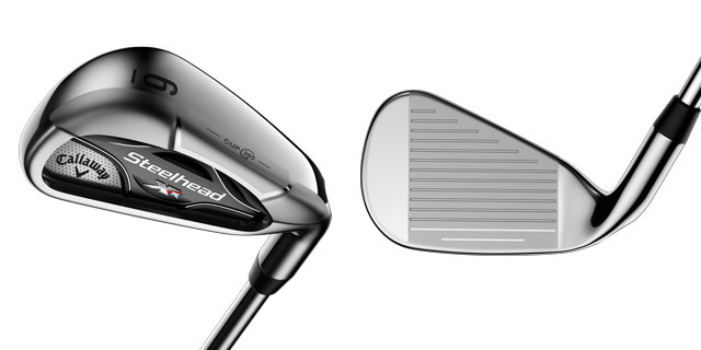 A view of the sole and the face of the new Callaway Steelhead XR irons.