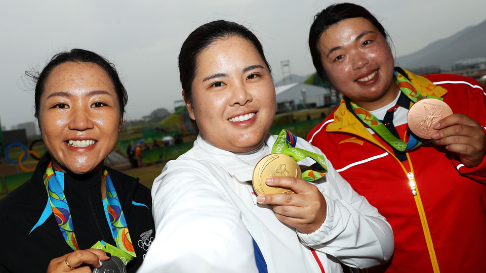Women's golf medal winners: New Zealand's Lydia Ko took silver, South Korea's Inbee Park gold and China's Shanshan Feng bronze.