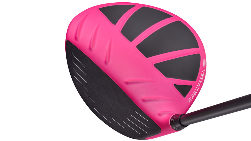 Ping's Bubba Watson pink G driver at address.