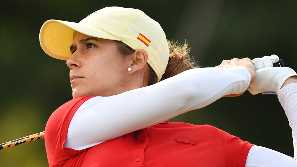 Spain's Azahara Munoz competes in the final day of the women's Olympic golf competition at the Rio 2016 Olympic Games.
