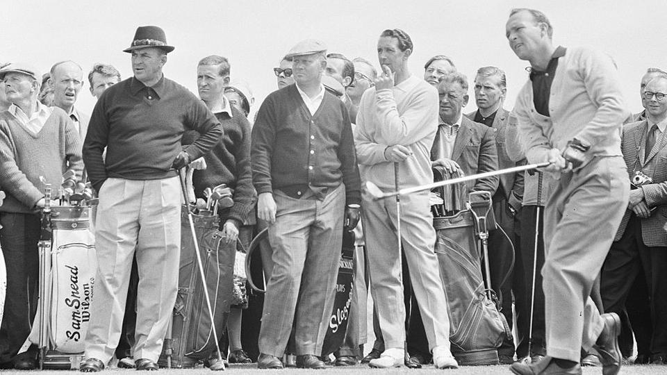 Sam Snead, Jack Nicklaus, Bob Charles and Arnold Palmer at the 1962 British Open at Troon.