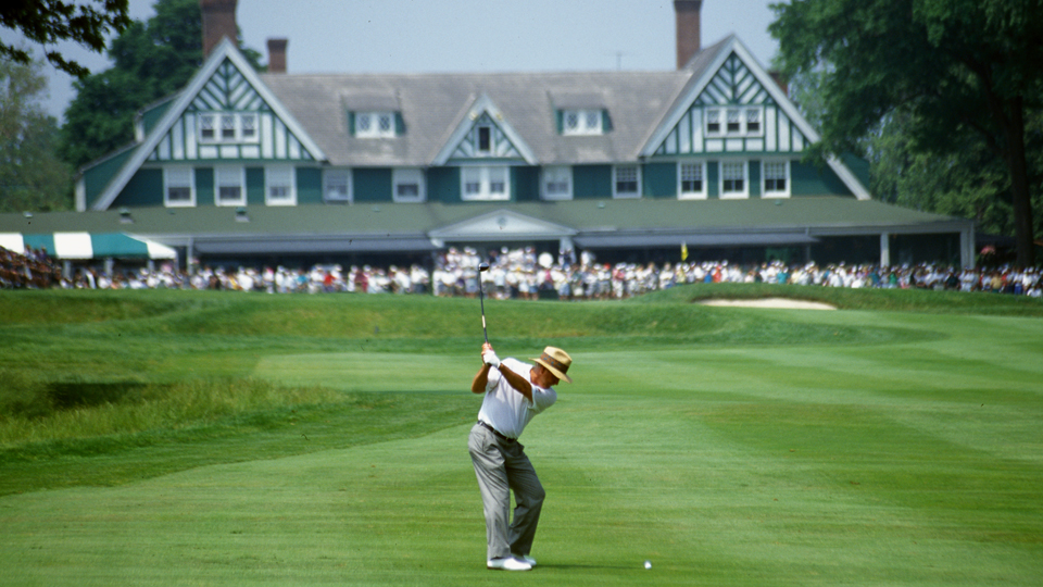 Arnold Palmer hits into the 9th green during the second round of the 1994 U.S. Open at Oakmont Country Club in Oakmont, Pennsylvania.