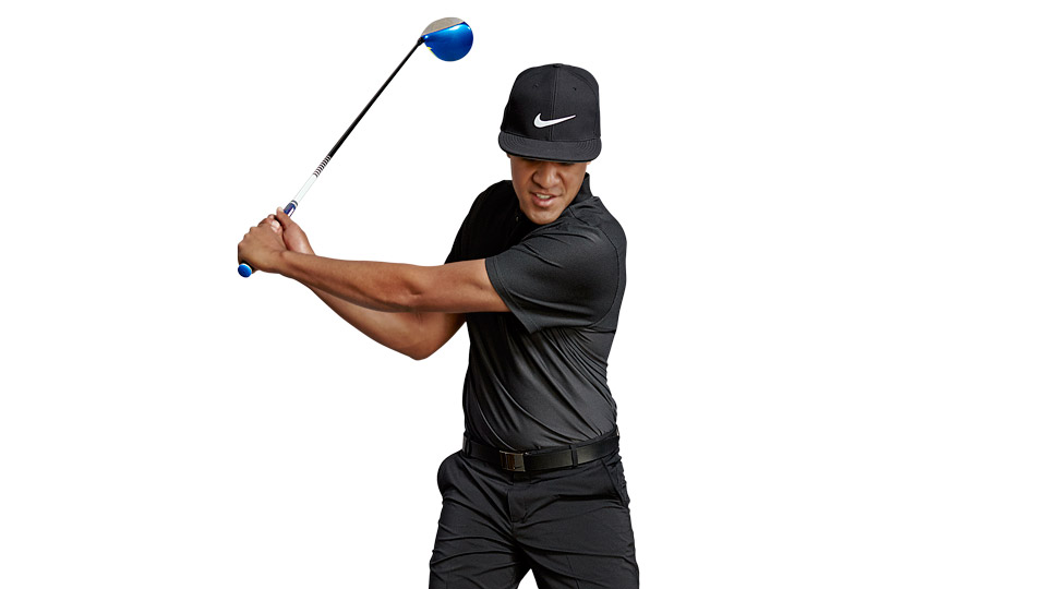 Swing your arms, hands and club as one piece. Let your wrists set naturally. If you rush your hinge, you'll lose speed.