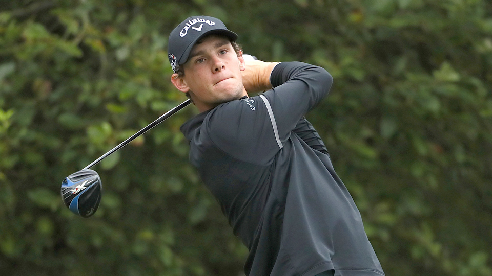 Thomas Pieters of Belgium tees off on the 1st hole during the final round of Made in Denmark at Himmerland Golf & Spa Resort on Aug. 28, 2016.