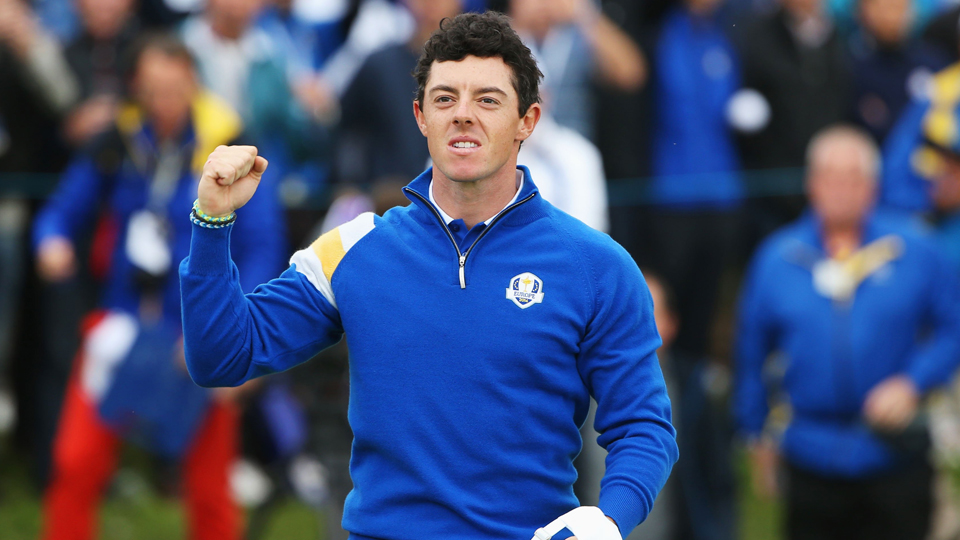Rory McIlroy celebrates a victory on the 14th hole during singles matches of the 2014 Ryder Cup.
