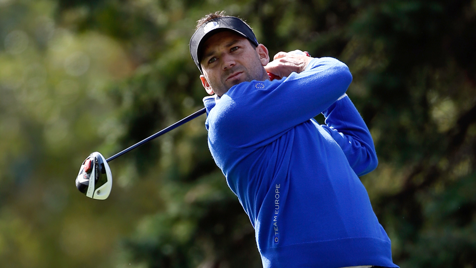 Sergio Garcia hits a drive during the 2012 Ryder Cup at Medinah.