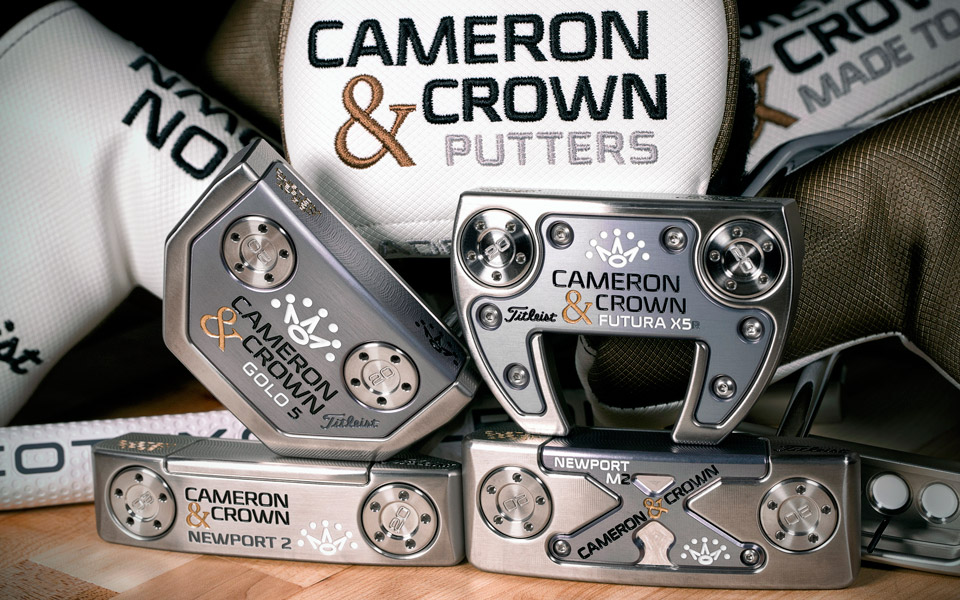 The Cameron & Crown line includes four popular Scotty Cameron putter heads.
