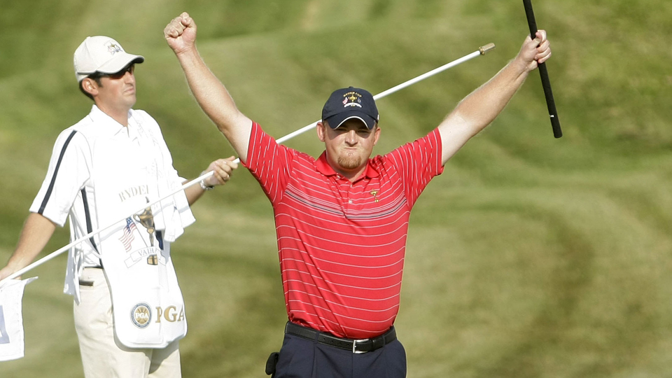 J.B. Holmes celebrates after winning his match on the 17th hole against Europe's Soren Hansen during the 2008 Ryder Cup at Valhalla Golf Club.