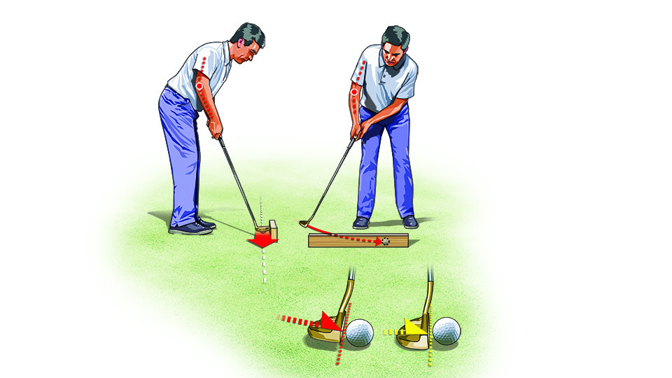 Taking the putterhead straight back and through forces your right elbow away from your body, which delofts the putterface, making square contact difficult.