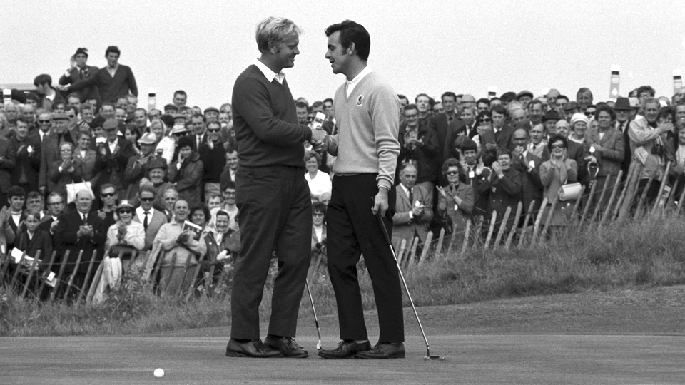 Jack Nicklaus of the U.S., left, congratulates Tony Jacklin of Great Britain after the British player beat him 4 and 3 in the Ryder Cup.