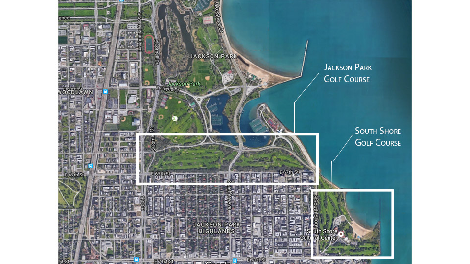 The proposed course would connect existing Jackson Park and South Shore golf courses along the Chicago lakefront.