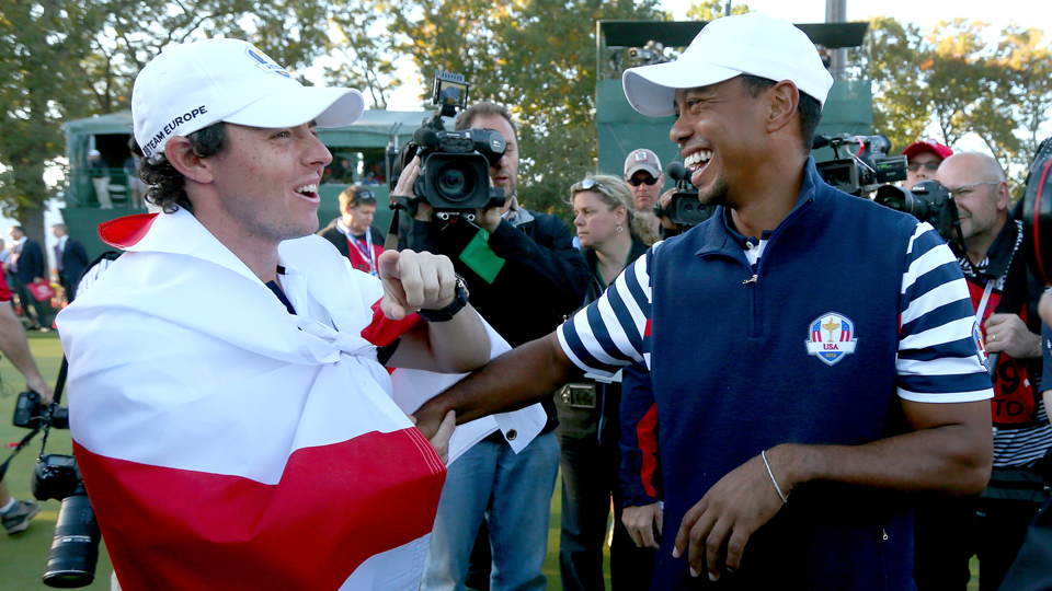 Rory McIlroy and Tiger Woods talk during the 2012 Ryder Cup, the last one Woods played in.