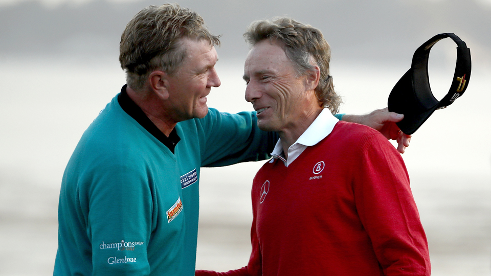 Bernhard Langer (right) congratulates Paul Broadhurst after Broadhurst won the Nature Valley First Tee Open at Pebble Beach Golf Links on Sunday.