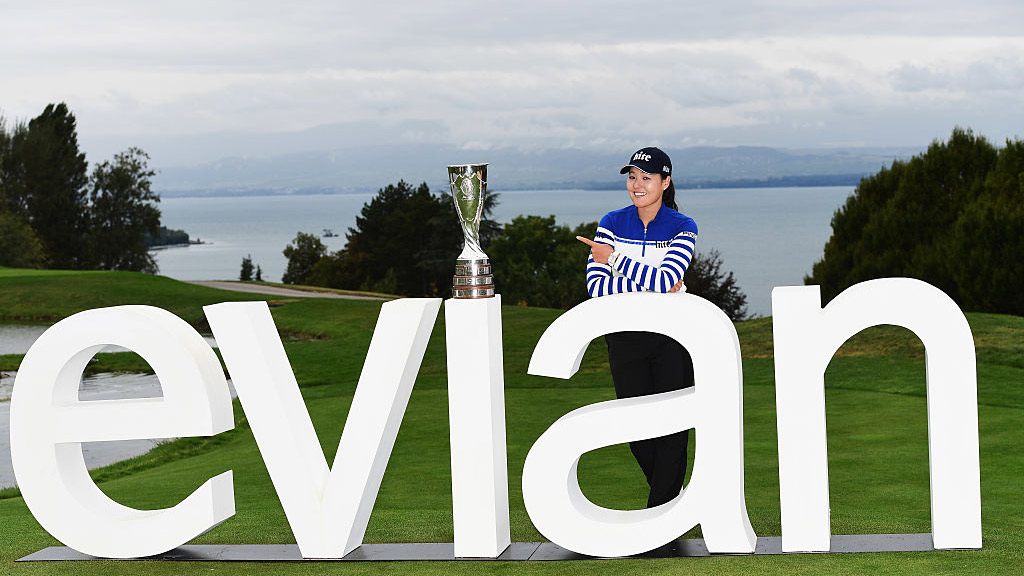 In Gee Chun celebrates her victory at the Evian Championship.