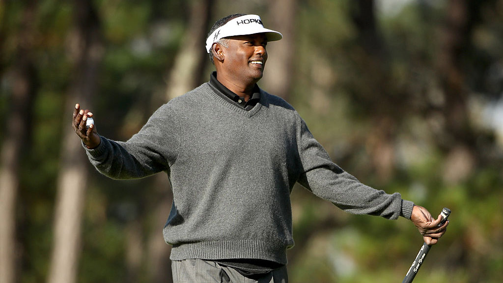 Vijay Singh reacts after making a putt during the Nature Valley First Tee Open.