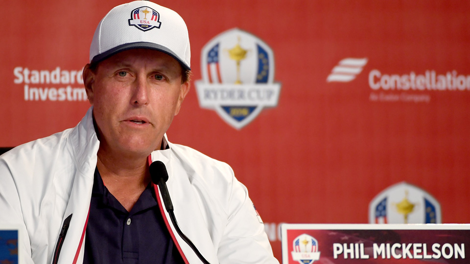 Phil Mickelson speaks to the media on Wednesday of Ryder Cup week.