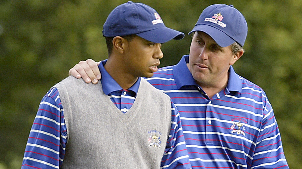 Phil Mickelson and Tiger Woods lost both of their 2004 Ryder Cup matches on the opening day.