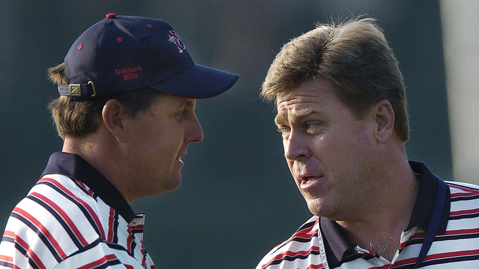 Team USA's captain Hal Sutton pumps up Phil Mickelson during the 2004 Ryder Cup.