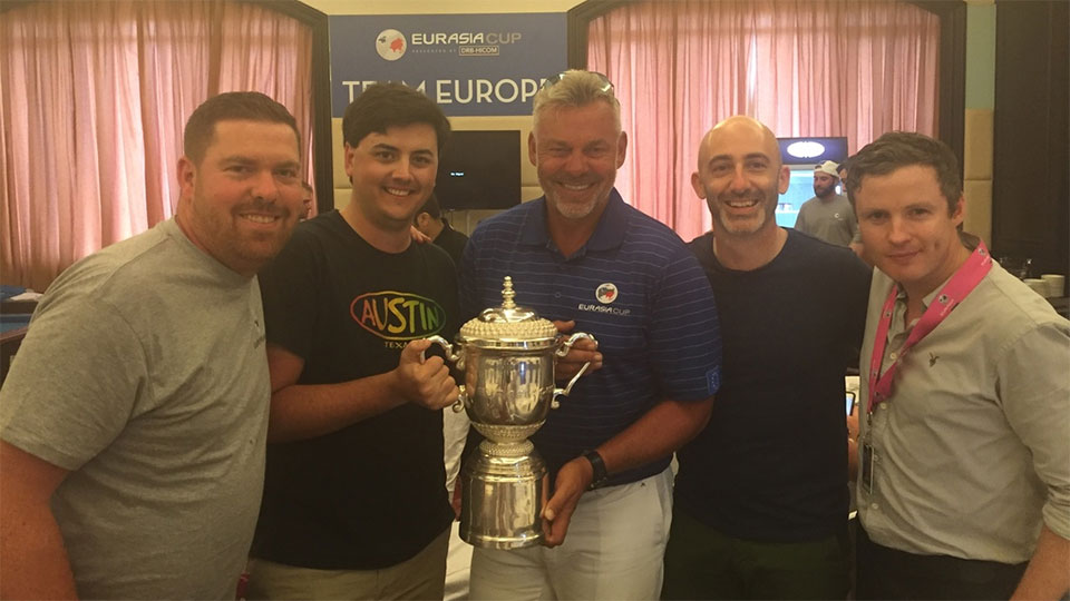 L to R: Duncan Carey, Jake Nichols, Darren Clarke, Blake Wooster, and Eireann Kelly (15th Club's head of product, celebrate the win at the EurAsia Cup.
