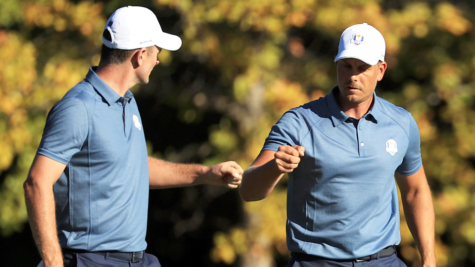 Justin Rose and Henrik Stenson avenged a Friday morning loss to Jordan Spieth and Patrick Reed by winning 5 and 4 in four-balls in the afternoon.