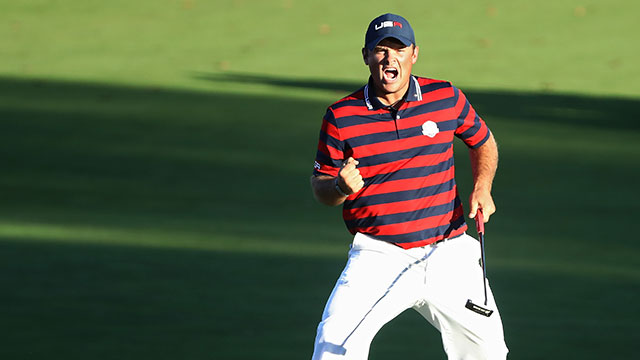 Patrick Reed of the United States reacts on the 15th green during afternoon fourball matches of the 2016 Ryder Cup at Hazeltine National Golf Club.