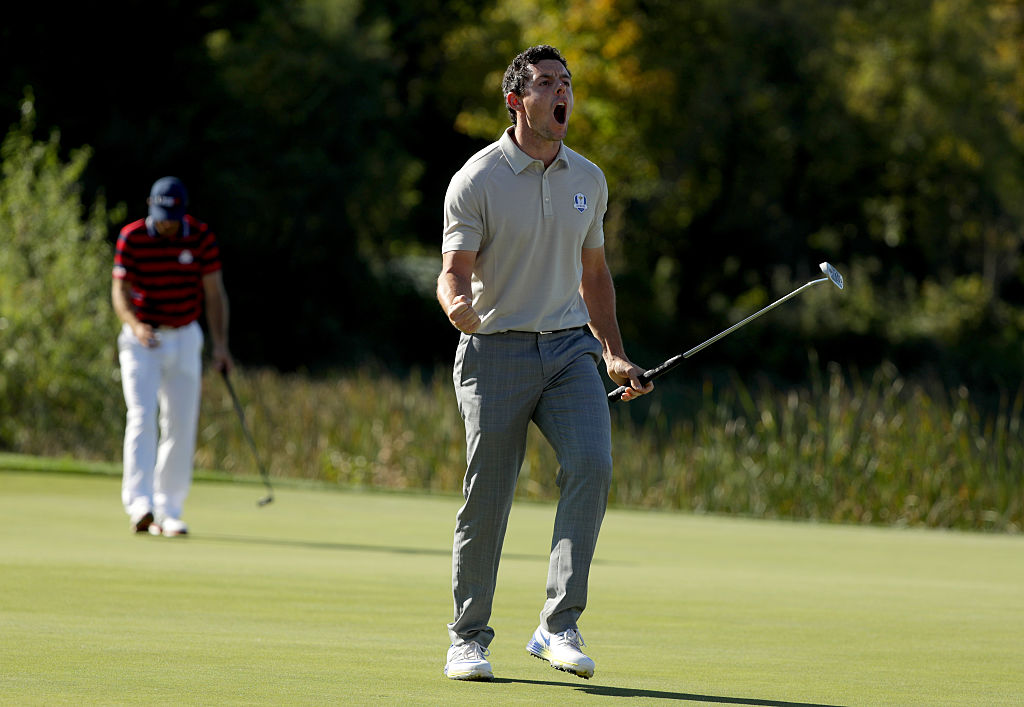 Rory McIlroy reacts during afternoon fourball matches of the 2016 Ryder Cup at Hazeltine.