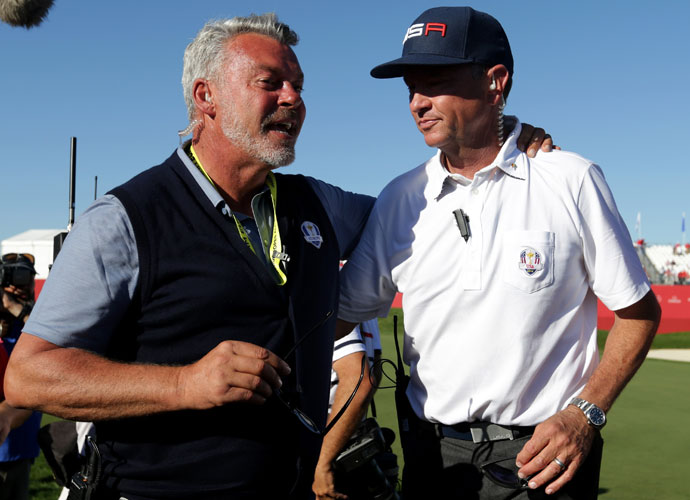 European captain Darren Clarke and U.S. captain Davis Love remained friends throughout the competition.