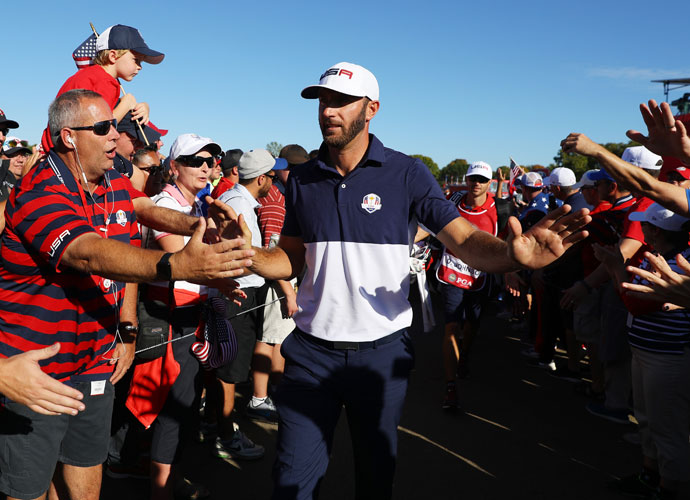 Dustin Johnson defeated Chris Wood in his match on Sunday to secure a point for the U.S.