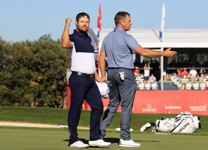 Captain's pick Ryan Moore defeated European stalwart Lee Westwood to secure the critical points for the Americans.