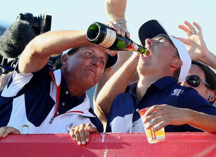 Mickelson showed Spieth how to celebrate a Ryder Cup victory.