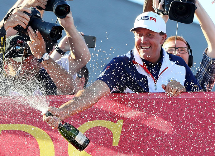 Phil Mickelson was eager to celebrate his long-awaited return to the Ryder Cup winner's circle.