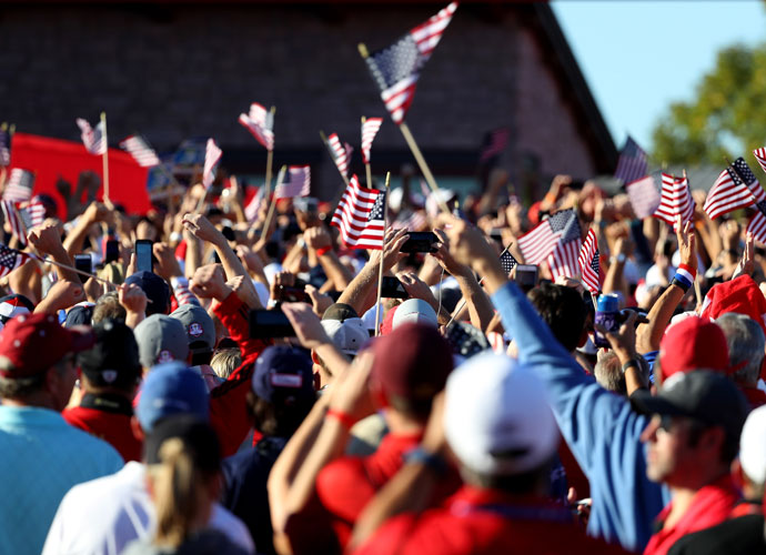 The homecountry crowd at Hazletine waved more than a few flags to celebrate the victory.