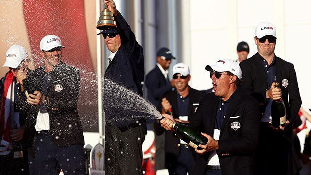 Phil Mickelson of the United States celebrates with champagne after winning the Ryder Cup during the closing ceremony of the 2016 Ryder Cup at Hazeltine National Golf Club.