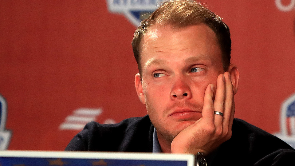Danny Willett looks on during a press conference after being defeated by the United States during singles matches of the 2016 Ryder Cup at Hazeltine National Golf Club on October 2, 2016 in Chaska, Minnesota.