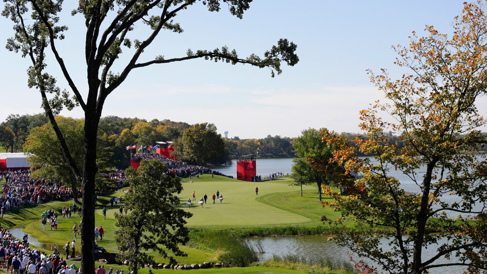 A view of the 17th hole at Hazeltine during the Ryder Cup.