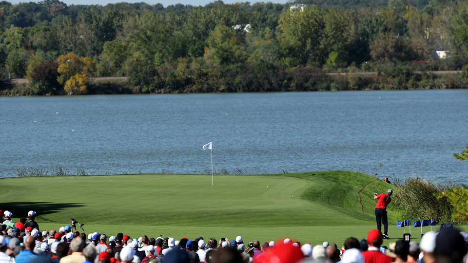 J.B. Holmes hits into the 7th green, which normally plays as the 16th at Hazeltine.