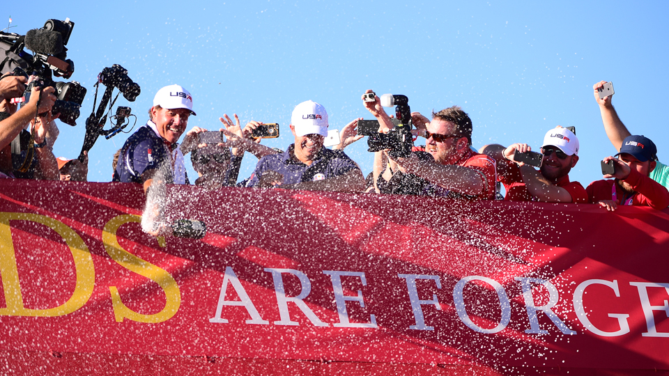 For Phil Mickelson and others, the party was off and running Sunday evening.