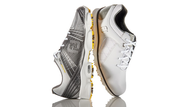 FOOTJOY HYPERFLEX II (left): The upper takes on a biomorphic pattern of the foot to boost support; FOOTJOY PRO/SL (right): A full-grain leather upper keeps the foot in place as you swing.