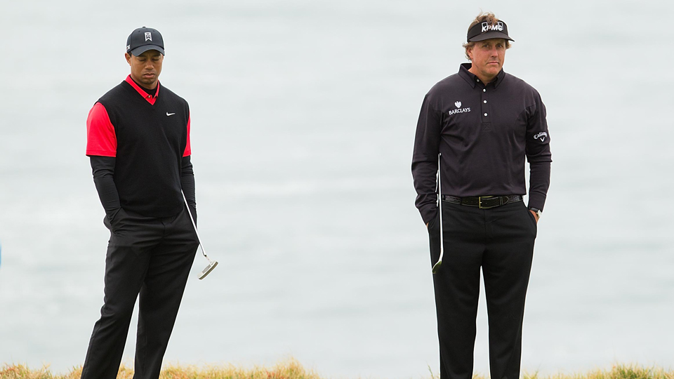 Tiger Woods (left) and Phil Mickelson (right) have not been paired together since the 2014 PGA Championship.