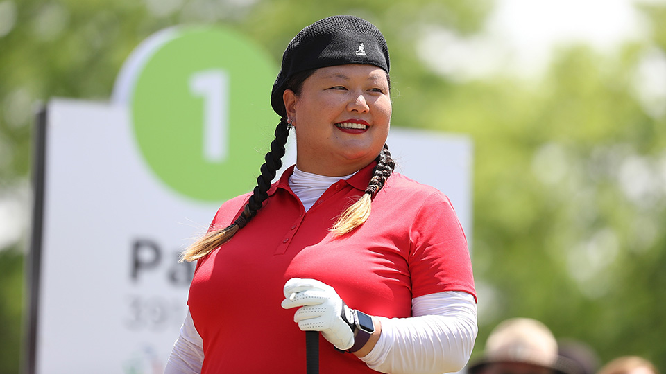 Christina Kim gets ready to tee off on the first hole during the final round of the LPGA Volvik Championship.