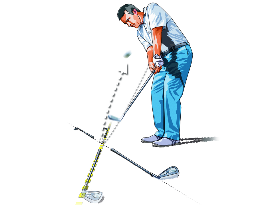 Place clubs on the ground to denote the path your swing should take on the backswing and downswing. The result? An inside-out path -- and tight draws!
