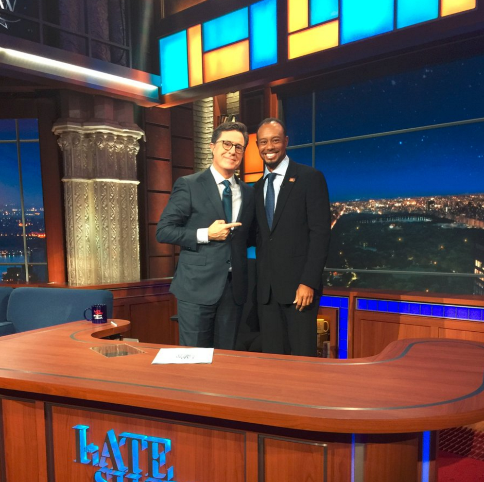 Tiger Woods and Stephen Colbert